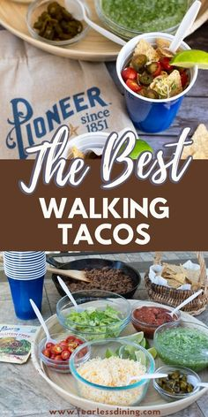 If you love tacos, but don't want to deal with the mess, these walking tacos are the best. A homemade chimichuri sauce ads some spice. They are perfect for a party or family dinner. Gluten Free Party Food, Gluten Free Tacos, Gluten Free Appetizers, Gluten Free Recipes For Dinner, Gluten Free Taco Seasoning, Gluten Free Gravy, Walking Tacos, Perfect Food, Food Processor Recipes