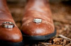 Wedding ring photo with cowboy boots