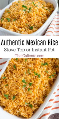 Mexican Rice Discover Authentic Mexican Rice Video - Thai Caliente Mexican Recipes Authentic Mexican Rice made either in the instant pot or stove top with a few basic ingredients. This rice goes perfect with any Mexican meal! Authentic Mexican Recipes, Rice Recipes For Dinner, Mexican Dinner Recipes, Authentic Food, Mexican Desserts, Mexican Buffet, Mexican Dishes, Mexican Rice Bowls, Taco Side Dishes