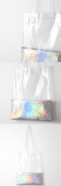 Get well prepared for Summer Travel and Rainy Days! Plain clear bags hologram plastic tote bag summer beach bag