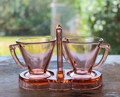 Pink Depression Glass Demitasse Art Deco Creamer, Sugar and Caddy