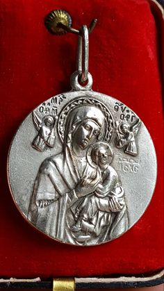 Large Vintage Spanish Our Lady of Perpetual Help Medal Art Nouveau Medal Icon Virgin Mary Silver Catholic Madonna and Child Blessed Mother by SacredBarcelona on Etsy