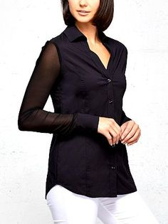The Anatomie Beth button-down is a TFG editor-in-chief favorite. With its button-front, deep-v neckline, and sheer mesh sleeves, it has a classy-yet-chic look. You can get it in a pristine white or classic black. And you can throw it in your bag for your next business trip, and there's no need to worry about it wrinkling! #TravelFashionGirl #TravelFashion #TravelClothing #fashionshirts #topshirts #fashiontravel Travel Clothing, Travel Shirts, Olive Jeans, Travel Dress, Dress Shirts For Women, Button Down Dress, Collar Dress, Stylish Outfits, Editor