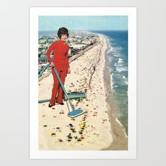 Simulated painting version<br/> <br/> blue, red, vacuum cleaner, beach...