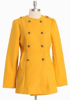 "Radley Double Breasted Coat By BB Dakota 96.99 at shopruche.com. Tailored with sophistication, this marigold coat is finished with a chic double-breasted closure, button-tabbed shoulders with ruched detail and side pockets. Fully lined.  Shell: 80% Polyester, 18% Rayon, 2% Spandex, Lining: 100% Polyester, Imported, 29.5"" length from top of shoulder"