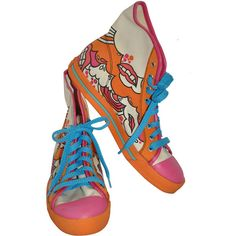 "Preowned Marc Jacobs Ladies ""oceans Of Lips"" High-top Sneakers ($675) ❤ liked on Polyvore featuring shoes, sneakers, orange, hi tops, high top sneakers, orange high tops, orange sneakers and orange shoes"