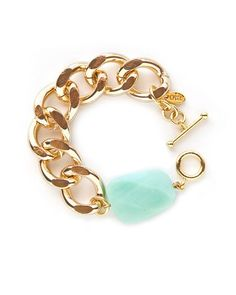 Mint and gold chain bracelet - Fashion and Love