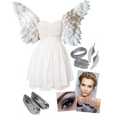 DIY Sweet Angel Costume by biesiadecki on Polyvore featuring polyvore, fashion, style, Sisters Point, Accessorize, Natasha Accessories, CC SKYE and Color Club
