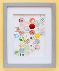 If you don't mind cutting up your wedding cards, you can create a truly unique piece of art to display in your home. Punch out your favorite designs and messages, and glue them onto a piece of paper to be framed.