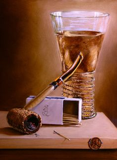 """""""Pipe and Drink"""" oil on panel - 11x14 Maroger medium. by W Scott Broadfoot ."""