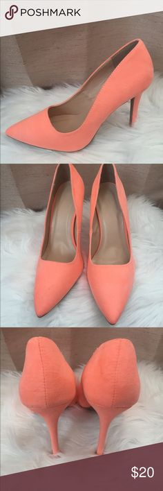 """Charlotte Russe Pointed Toe Pumps Every girl needs at least one classic pair of pumps, and these sleek faux suede heels are a solid choice! The style is graceful and timeless from the pointed toe to the slender heel cup, and a wrapped stiletto heel adds a sexy boost from below. Heels we're only worn once. Neon Coral Suede  Product Fit: Shaft: 2.5""""Heel: 4"""" Charlotte Russe Shoes Heels"""