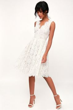 Let the Lulus Love Swept White Lace Midi Skater Dress sweep you off your feet! White floral lace tops a nude knit liner to shape this perfectly romantic dress. Midi Skater Dress, Lace Midi Dress, White Lace Dresses, White Dress Casual, White Ruffle Dress, White Maxi, White Outfits, Shower Outfits, Rehearsal Dinner Dresses