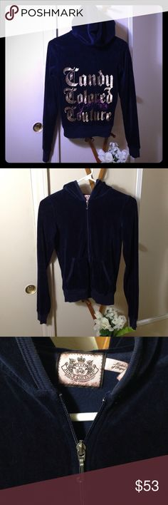 JUICY COUTURE Navy Blue Velvety Jacket Fits M Two pockets. 80% cotton; 20% polyester. Couple of snags, as shown in pics. Small and not noticeable when worn. Overall, still in good condition. Could possibly fit thin medium. I wear medium and it fits me. Juicy Couture Jackets & Coats