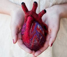 HeartFelt  by OnceAgainSam  This listing is for one human scale anatomical heart made entirely of heart. Made using a technique called needle felting to matte down dyed wool until it turned into solid felt, and eventually a soft but solid mass.