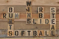 Softball Enthusiast Pallet Art Word Collage Sports Room Wall Decor Choose Lustre Fine Art Print or Gallery Wrapped Canvas. More Pallet Art😉 Softball Party, Softball Crafts, Softball Quotes, Softball Pictures, Softball Mom, Fastpitch Softball, Softball Stuff, Girls Softball Room, Baseball Mom