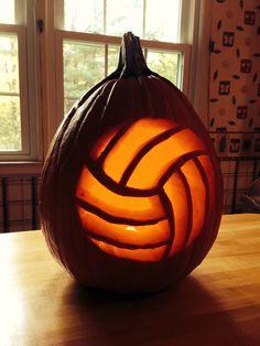 volleyball jack o'lantern #pumpkin #halloween #volleyball