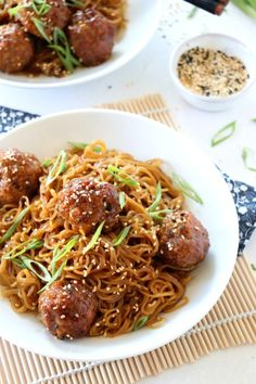 Teriyaki Meatball Noodles was adapted from having an overabundance of leftovers and I'm not complaining. Meatballs And Noodles Recipe, Teriyaki Meatballs, Party Meatballs, Meatball Recipes, Beef Recipes, Skillet Recipes, Vegetarian Recipes, Cooking Recipes, Teriyaki Noodles