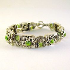 Metal Peridot Bracelet Two Strand  Green by CinLynnBoutique, $24.00