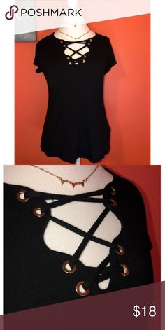 6a79f7888a CATO Casual Black Top ⭐️MAKE AN OFFER⭐ Lace up neckline with unworn gold  rings. Extremely comfy material! Cato Tops