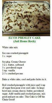 Elvis Presley Jail  House Rock Cake Almond Joy Cake, Elvis Presley, Peach Cake, Almond Joy Pie