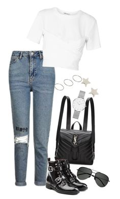 """Sem título #1424"" by manoella-f on Polyvore featuring moda, Topshop, T By Alexander Wang, Yves Saint Laurent, Marc Jacobs, ASOS, Daisy Knights e Daniel Wellington"