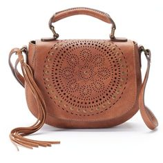 Mudd® Lina Perforated Crossbody Bag (£19) ❤ liked on Polyvore featuring bags, handbags, shoulder bags, brown oth, purses crossbody, brown crossbody purse, handbags crossbody, vegan purses and shoulder handbags