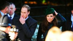 Prince Wiliam and Catherine, Duchess of Cambridge, aka Kate Middleton, attending the later service at St. Mary Magdalene on the grounds of the royal Sandringham estate. She is wearing a customized version of the Black Watch coat from McQ by Alexander McQueen, a new hat by Gina Foster, and her Aquatalia Rhumba boots. 12/25/13