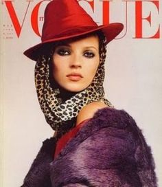 kate moss on the cover of Vogue wearing a headscarf