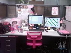 Cute pink cubicle decor