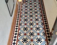 Victorian floor tiles, Hallway. Tiles 5cmx5cm thickness 5mm, blue pale, white, red, black. Wolverton. Bathroom Floor Tiles, Tile Floor, Front Garden Entrance, Black And White Hallway, Victorian Mosaic Tile, Blue Mosaic Tile, Foyer Flooring, Tiled Hallway, Pale White