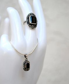 Sterling Silver Onyx and Marcasite Ring and Necklace Vintage #Vintage #Jewelry #Fashion #GiftForHer #CostumeJewelry