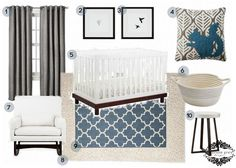 Trip to Target {blue and gray nursery}  Use map with more blues ( deep & cream), or the wood one with turquoise, Target- Threshold Basketweave drapes in gray; Threshold Fretwork rug in blue- or turquoise or navy depending on the map colors, The other rocker/ glider from Target in light gray or cream; table not available. Then just need cute lumbar pillow for chair with print or saying; Paint:Benjamin Moore- Linen,and Behr's taupe, or Glidden's Granite gray for accent wall