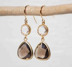 Iced Coffee EARRINGS Clear Crystal Smokey by redtruckdesigns