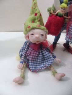 POUTING BABY GNOME ... ooak poseable art doll  .. faires ... elves ... gnomes ... and the like by Dinkydarlings