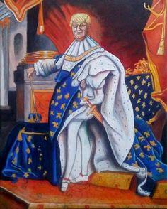 """#megalomaniadream"" ©GN 2017; 20 x 16 in; acrylic, pencils, ink & oil on canvas  #LouisXIV #DonaldTrump #decadence #art #FrenchBaroque #HyacintheRigaud1701 #megalomaniac #painting #pintura #malerei #GabrielNavar  http://gabrielnavar.com"