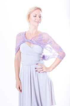 Light lilac  Infinity lace shawl, bolero vest, hooded scarf
