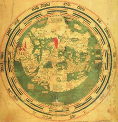 """The map is oriented with south at the top. The red area is the """"Red sea"""" and below the red sea in the centre of the map the holy city of Jerusalem is situated. This late medieval mappamundi, produced at Constance in 1448 by Andreas Walsperger, represents a transitional type of cartography that was beginning to unfold in western Europe before the Renaissance."""
