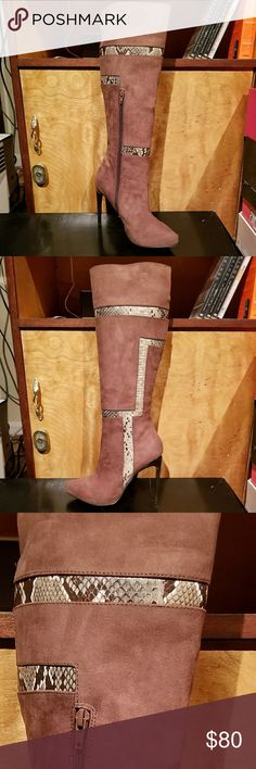 """Brand new suede heeled boots Brand new in box, never worn, still has stuffing in them! Beautiful boots, brown suede with geometric snake print, about 4"""" heel height. Izabella Rue Shoes Heeled Boots"""