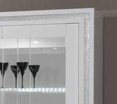 Argentier-vaisselier design laqué blanc + effet strass ROSALIA, avec éclairage LED en option