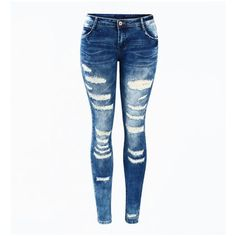 Distressed Skinny Jeans (€34) ❤ liked on Polyvore featuring jeans, pants, bottoms, ripped skinny jeans, distressed skinny jeans, ripped jeans, white jeans and white ripped jeans
