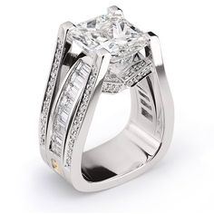 Interlace, 7.07ct Radiant Cut Diamond accented by Baguette and Round Brilliant Cut Diamonds set in Platinum.