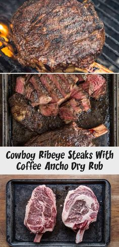 Reverse Sear Cowboy Ribeye Steak with a delicious coffee ancho dry rub is a stea. - Reverse Sear Cowboy Ribeye Steak with a delicious coffee ancho dry rub is a steak to impress guests - Turkey Meat Recipes, Baked Meat Recipes, Stew Meat Recipes, Meat Recipes For Dinner, Cowboy Ribeye, Cowboy Steak, Perfect Roast Potatoes, Dry Rub Recipes, Smoked Beef Brisket