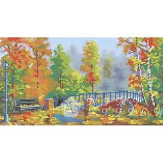 Канва с рисунком для бисера Осенний мост Т-0182 #beads #beadwork #embroidery #mimistitch