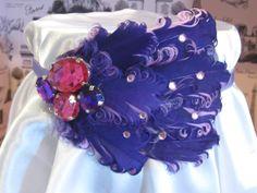 Purple Lavender Curly Goose Feather Headband and decor box. $40.00, via Etsy.