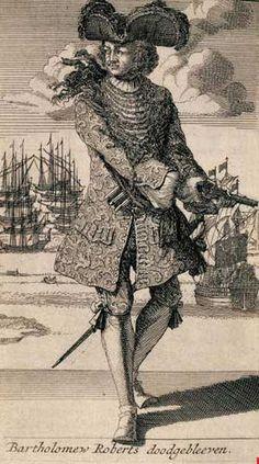 "Bartholomew ""Black Bart"" Roberts, a Welsh pirate who raided ships off the…"