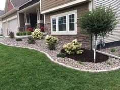 We design and build low maintenance front and back yard planting beds. Landscaping Around Deck, River Rock Landscaping, Landscaping Around House, Gravel Landscaping, Landscaping With Rocks, Outdoor Landscaping, Corner Landscaping Ideas, Ranch House Landscaping, Landscaping Design