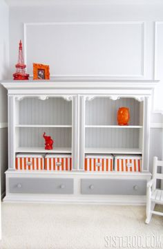 Gray and Orange Paris baby nursery
