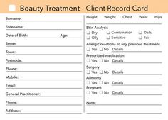 client consultation card for spa - Google Search | Spa ideas ...
