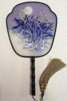 3D Lifelike Double Side Moonlight Scene Embroidery Needlework Silk Hand Fan