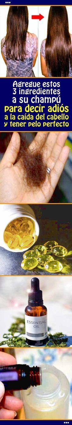 Agregue estos 3 ingredientes a su champú para decir adiós a la caída del cabello y tener pelo perfecto #champu #caida #receta #remedio #casero #pelo #cabello